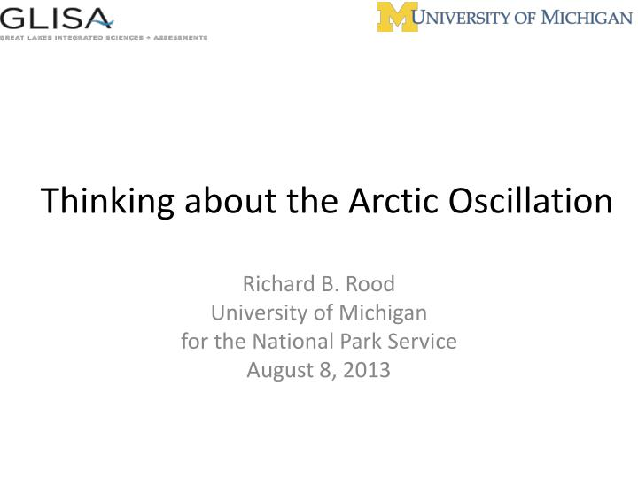 thinking about the arctic oscillation n.