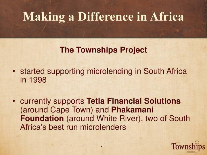 Making a difference in africa1