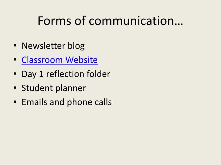 Forms of communication…