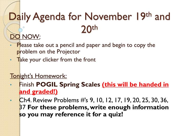 daily agenda for november 19 th and 20 th n.