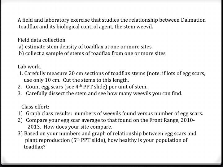 A field and laboratory exercise that studies the relationship between