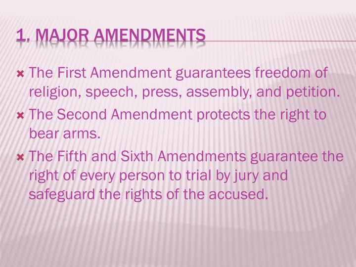The First Amendment guarantees freedom of religion, speech, press, assembly, and petition.