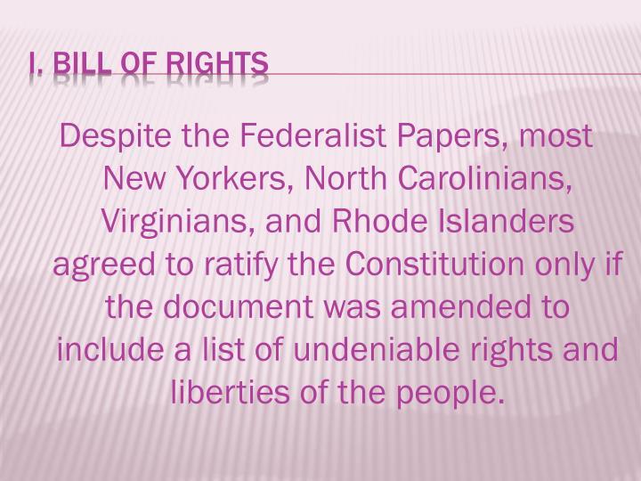 I bill of rights