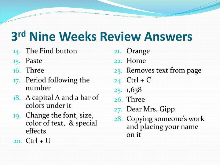 3 rd nine weeks review answers1