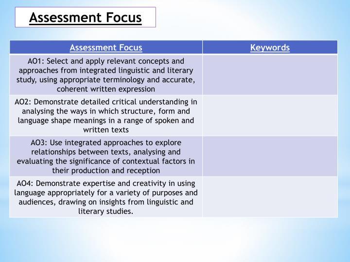 Assessment Focus