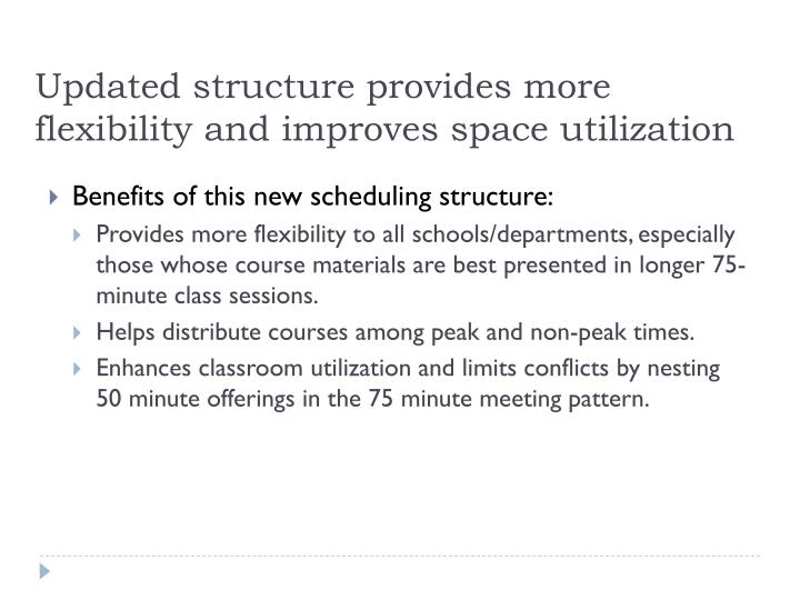 Updated structure provides more flexibility and improves space utilization