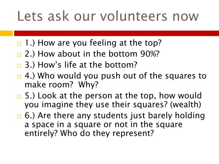 Lets ask our volunteers now