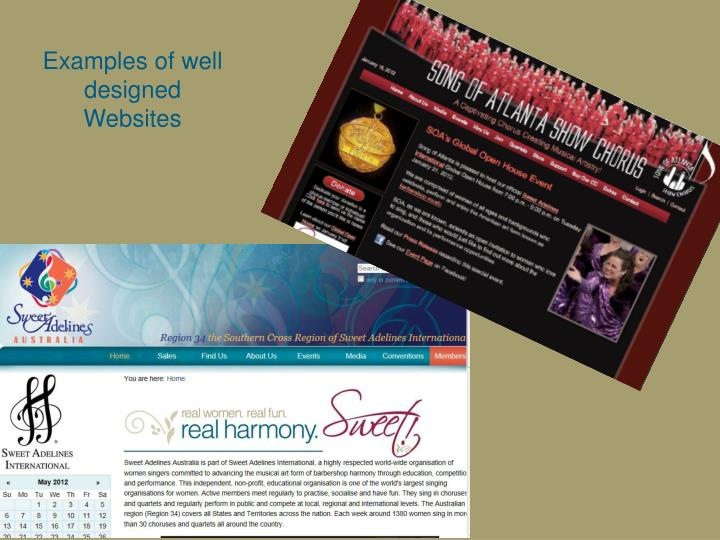Examples of well designed Websites