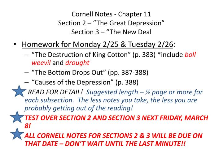 cornell notes chapter 11 section 2 the great depression section 3 the new deal n.