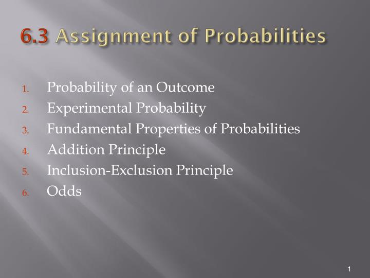 6 3 assignment of probabilities n.