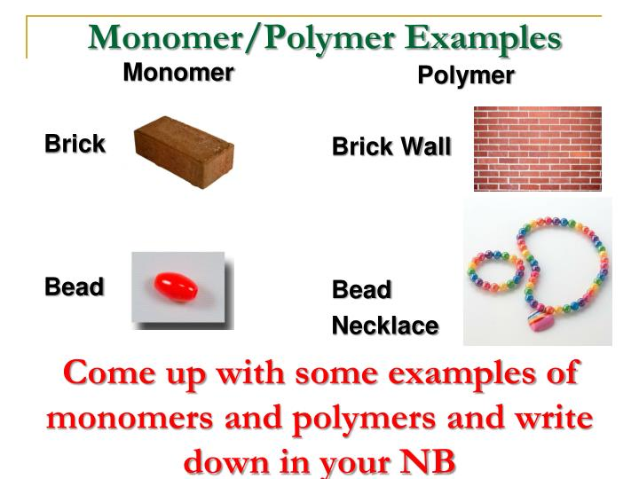 Monomer/Polymer Examples