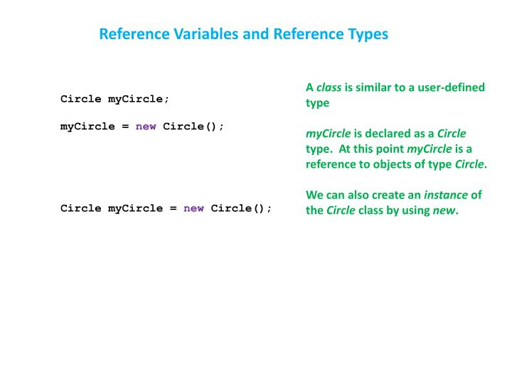 Reference Variables and Reference Types