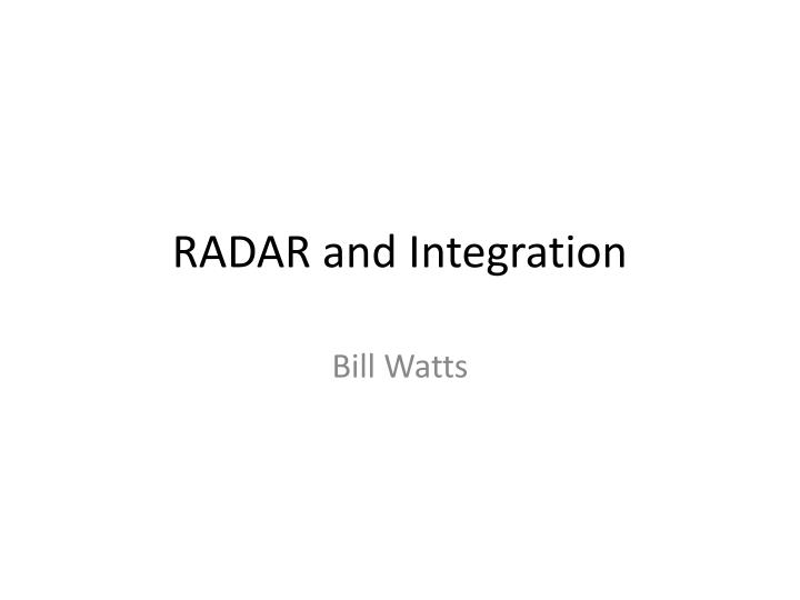 radar and integration n.