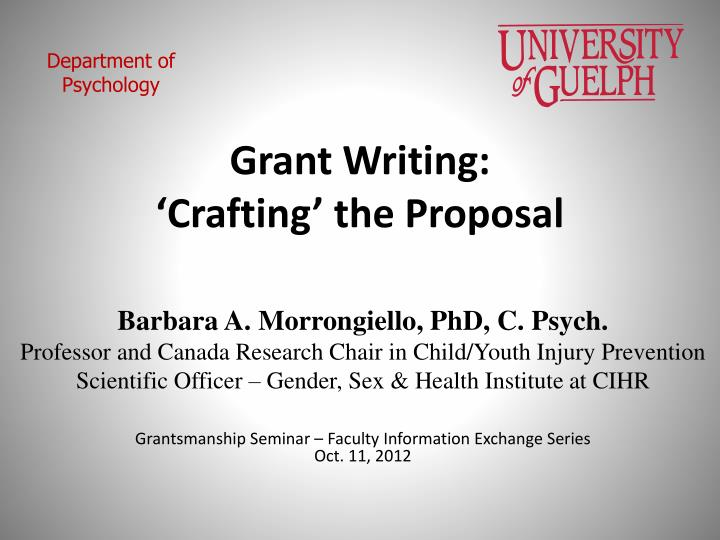 grant writing crafting the proposal n.