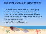need to schedule an appointment
