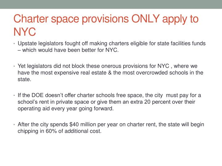 Charter space provisions ONLY apply to NYC