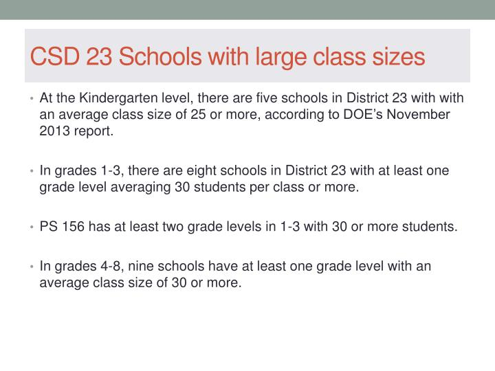 CSD 23 Schools with large class sizes