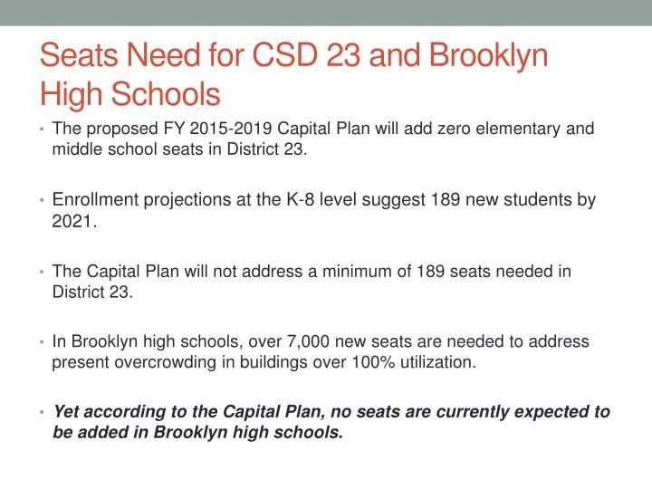 Seats Need for CSD 23 and Brooklyn High Schools