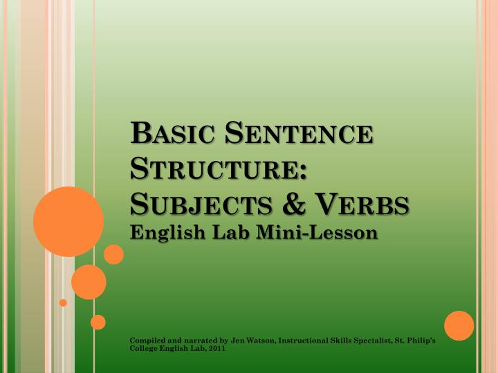 basic sentence structure subjects verbs n.