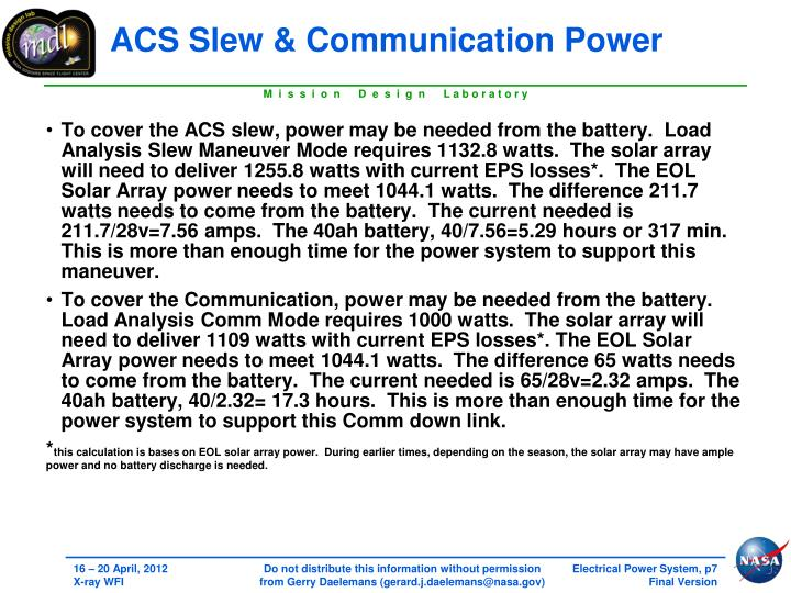 ACS Slew & Communication Power