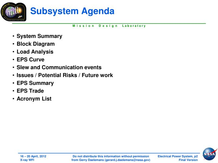 Subsystem agenda
