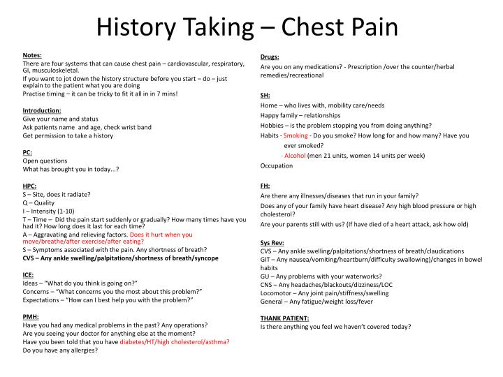 history taking chest pain n.