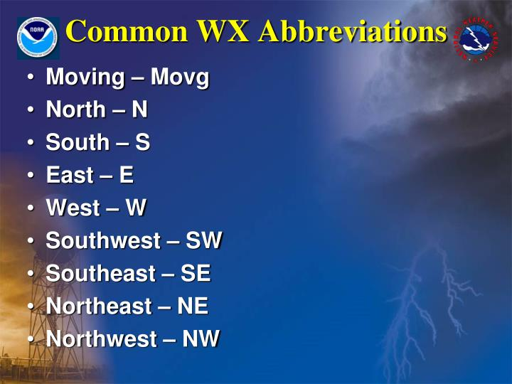 Common WX Abbreviations
