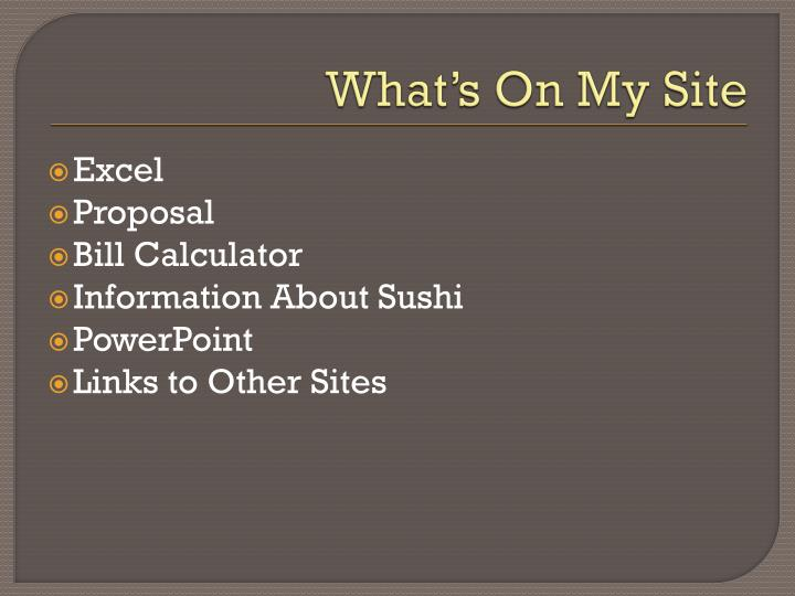 What's On My Site