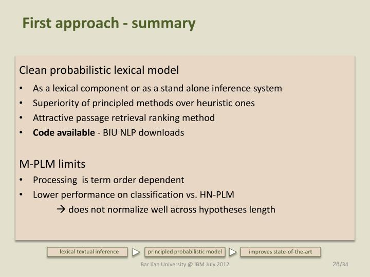 First approach - summary