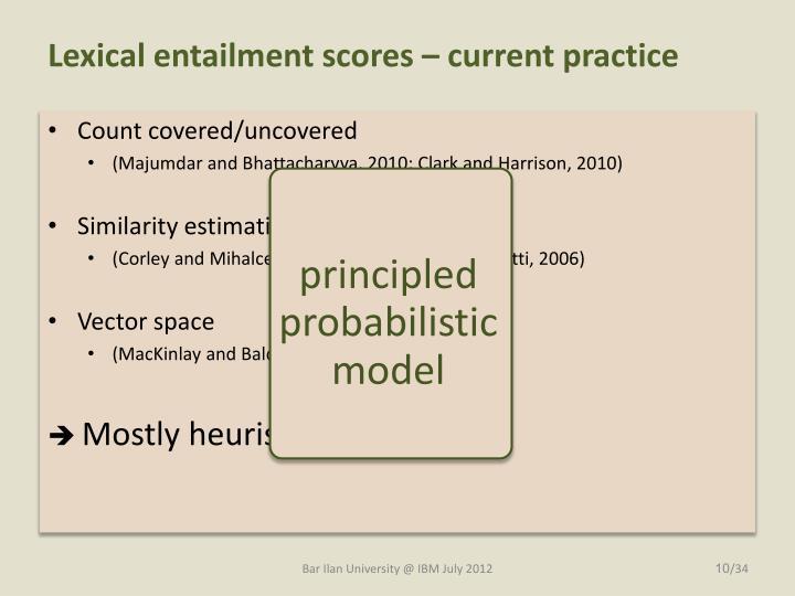 Lexical entailment scores – current practice