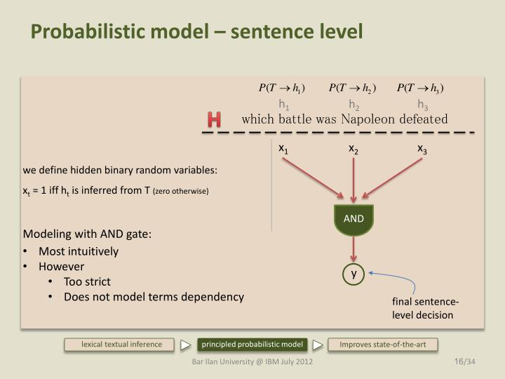 Probabilistic model – sentence level