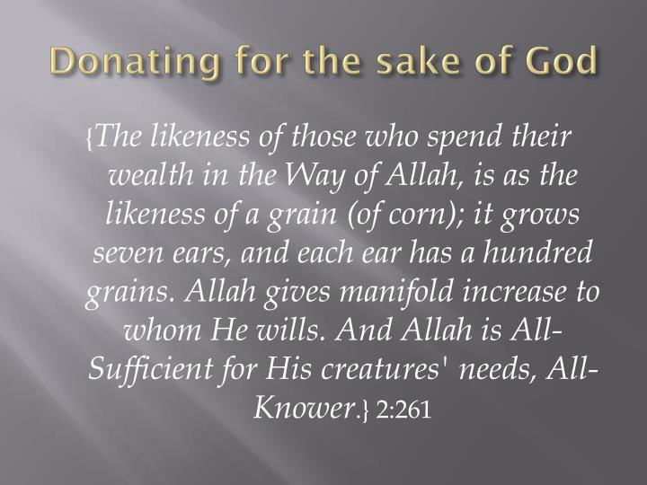 Donating for the sake of God