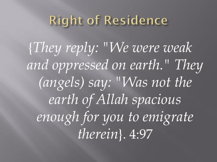 Right of Residence
