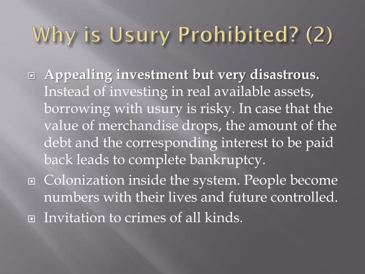 Why is Usury Prohibited