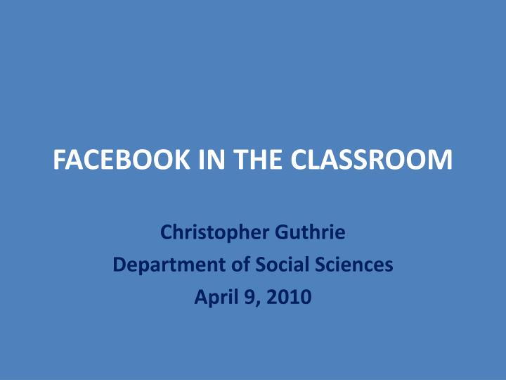facebook in the classroom n.