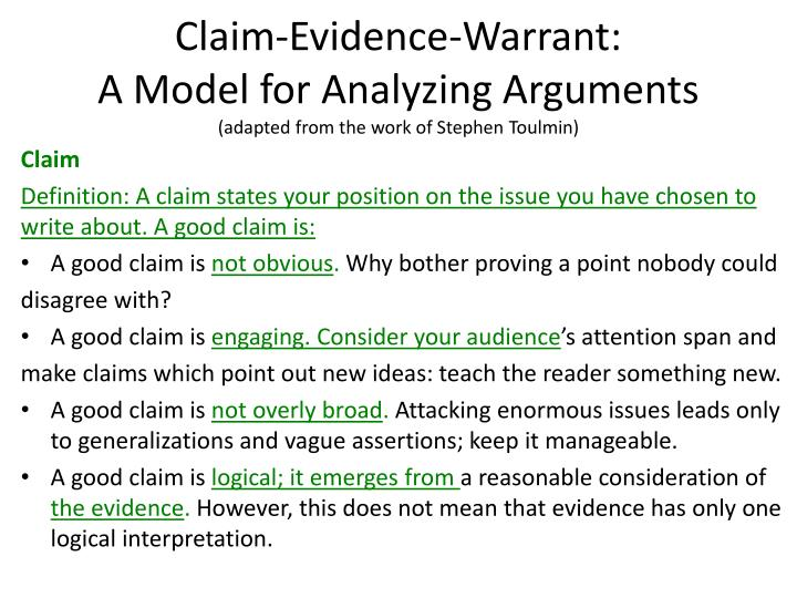claim evidence warrant a model for analyzing arguments adapted from the work of stephen toulmin n.