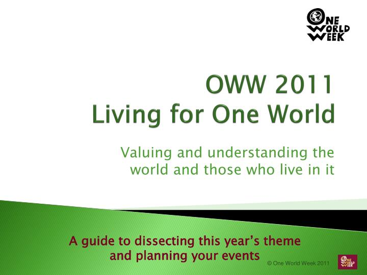 oww 2011 living for one world n.