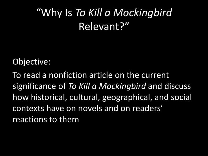 significance of a mockingbird This site might help you re: what is the true meaning behind the title to kill a mockingbird.