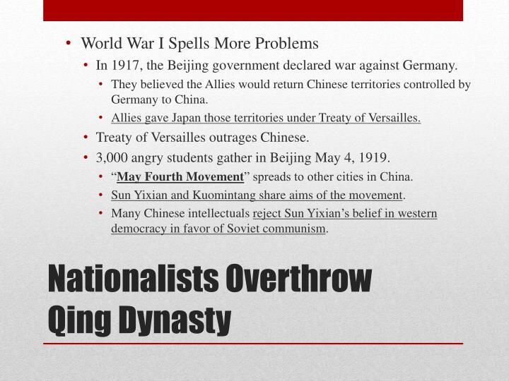 World War I Spells More Problems