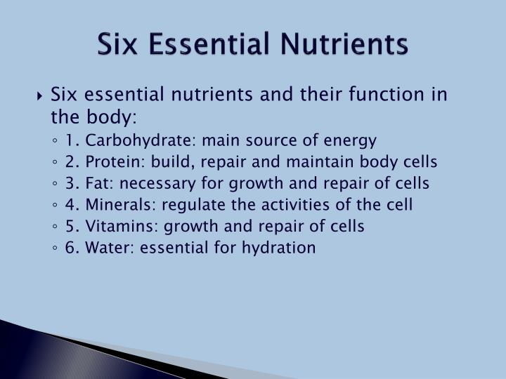Six Essential Nutrients Six Essential Nutrients And Their Function