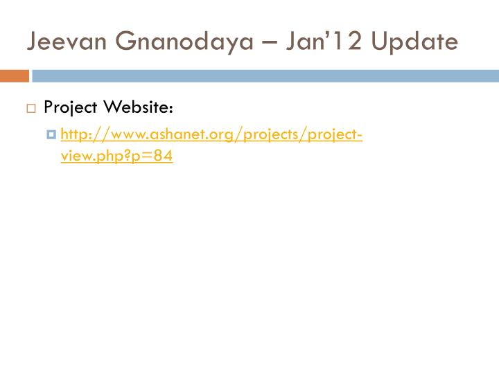 jeevan gnanodaya jan 12 update n.