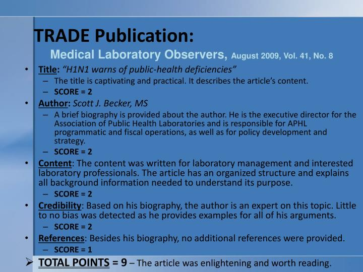 Trade publication medical laboratory observers august 2009 vol 41 no 8