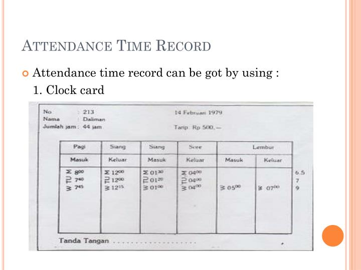 Attendance time record