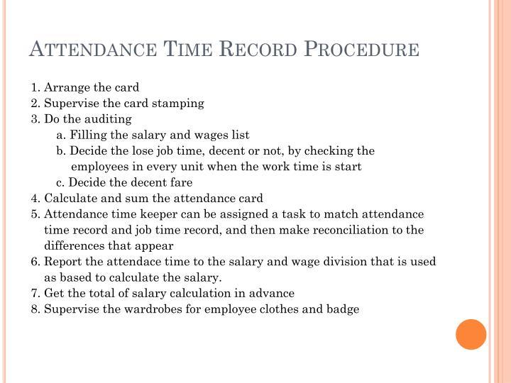 Attendance Time Record Procedure