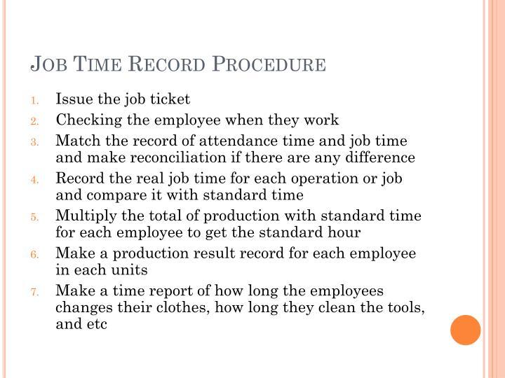 Job Time Record Procedure
