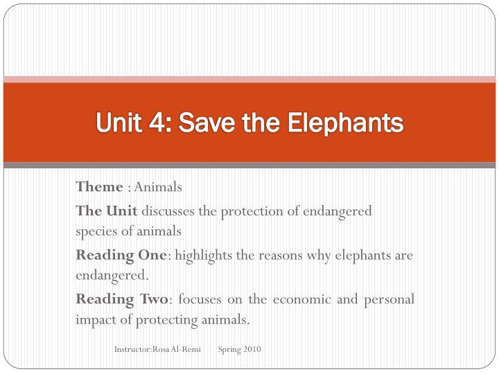 unit 4 save the elephants n.