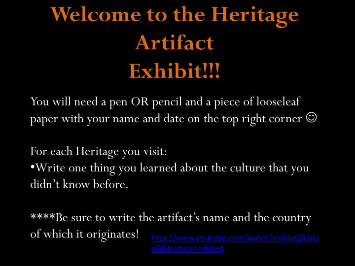 welcome to the heritage artifact exhibit n.
