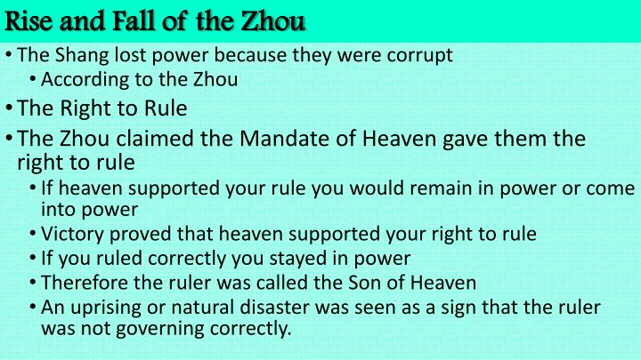 Rise and fall of the zhou