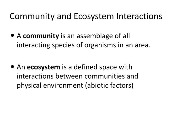 Community and ecosystem interactions