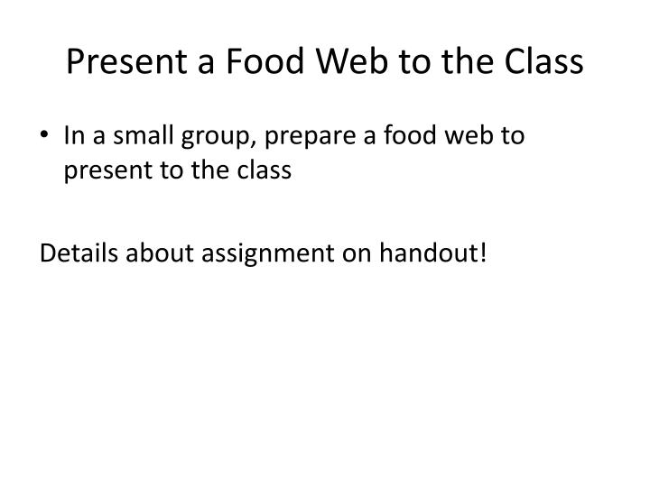 Present a Food Web to the Class